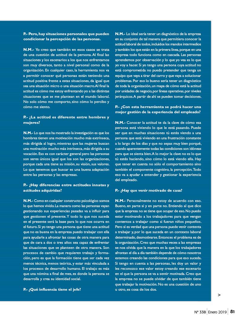 Artículo Actitud Laboral Positiva publicado en Capital Humano